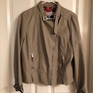 Grey Vegan Leather Jacket